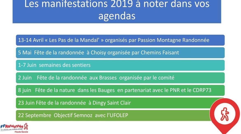 Calendrier 2019 des manifestations de la FFRandonnée